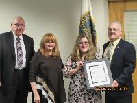PSAB Board member Frank Cortazzo presented Brittany Fabio, of Castle Shannon Borough, with a Distinguished Junior Council Person Award in February.