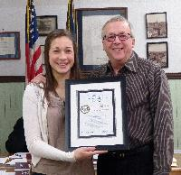 PSAB Senior Director Ed Knittel presented a Distinguished Junior Council Person Award to Oxford Borough JCP Sarah Hershey in January. Sarah is pictured with her father.