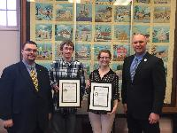 Hellertown Borough recognized its Junior Council Persons (JCP) with a Distinguished Junior Council Award in April. Pictured are Thomas Rieger, Council President; Richard Weddingen, Junior Council Person; Nicole Payung,  Junior Council Person; and Christopher Cap, PSAB Executive Director.
