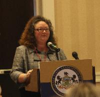Laurie Baughman, a senior attorney with PCADV, spoke about Act 200 and domestic violence issues.