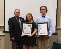PSAB Past President Ed Child presented the Distinguished Junior Council Person Award to JCP Ashlin Brook and JCP Jakob Aigeldinger, both from Perkasie Borough.