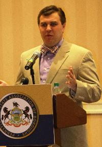 Kristopher Gazsi, Esq., from the Local Government Commission, spoke about public property policies.