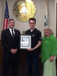 Grove City Borough Mayor Randy Riddle (left) and Council Member Amy Gallagher  presented Junior Council Person Ethan Foley with the DIstinguished Junior Council Person Award in May 2016.